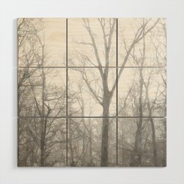 Black and White Forest Illustration Wood Wall Art