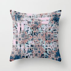 Pink and Blue Modern Geometric and Animal Print Pattern Throw Pillow