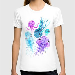 Jelly Fish Fields - Ocean Watercolor T-shirt