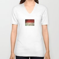 indonesia V-neck T-shirts featuring Old and Worn Distressed Vintage Flag of Indonesia by Jeff Bartels