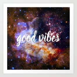 Good Vibes Hubble Space Photo Carina Star Cluster Art Print
