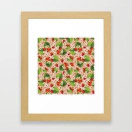 Pink Paisley Strawberries Framed Art Print