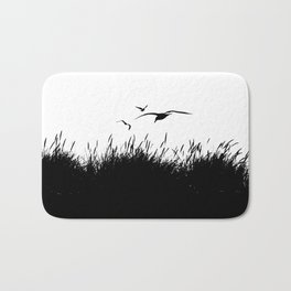 Seagulls Flying over Sand Dunes Bath Mat