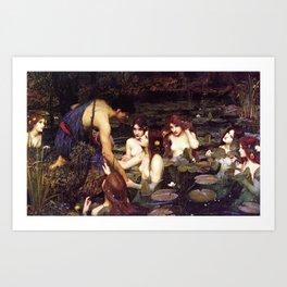 John William Waterhouse - Hylas and the Nymphs - 1896 Art Print