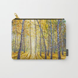 Beautiful autumn BIRCH tree forest landscape painting. Painting by Valery Rybakow Carry-All Pouch