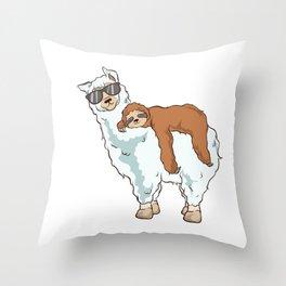Cute & Funny Sloth Riding Llama Throw Pillow