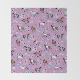 Purple Horse and Flower Print, Hand Drawn, Horse Illustration, Little Girls Decor Throw Blanket