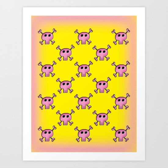 Pink Lemonade Punk Skulls Art Print