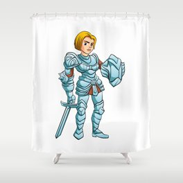 Warrior Princess With Battle sword and Shield Shower Curtain