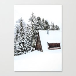 Log Cabin in the Snow, Winter Wall Art Canvas Print