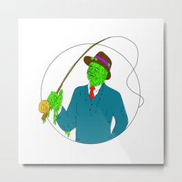 Mobster Fisherman Fly Rod Reel Grime Art Metal Print