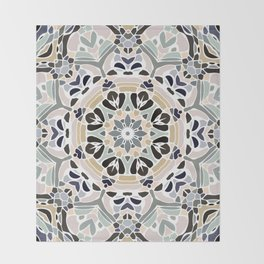 Floral Multicolored Mandala with Light Linen Texture Throw Blanket