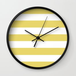 Hansa yellow - solid color - white stripes pattern Wall Clock