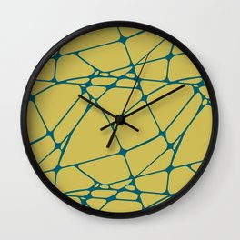 Tropical Dark Teal Abstract Mosaic Pattern 1 Inspired by Sherwin Williams 2020 Trending Color Oceanside SW6496 on Dark Yellow Wall Clock