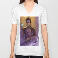 bane V-neck T-shirts featuring Magnus Bane by AkiMao