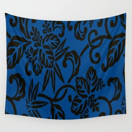 Antique Japanese Pattern : Navy Blue Wall Tapestry