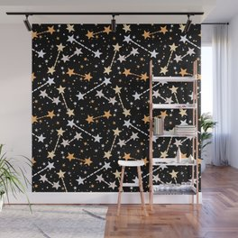 Night sky with gold silver stars Wall Mural
