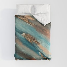 Colorful Paint Brushstrokes Gold Foil Comforters