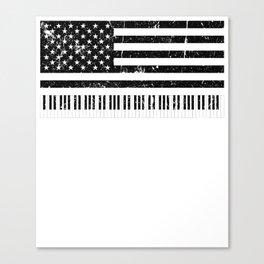 American Flag Grand Piano design Canvas Print