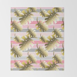 Tropical gold cheese leaves pastel color stripes Throw Blanket
