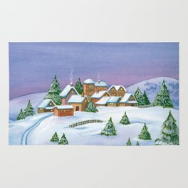 Landscape of a winter night Rug