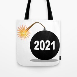 Cartoon 2021 New Years Bomb Tote Bag