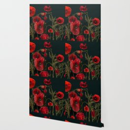 Red Poppies On Black Wallpaper