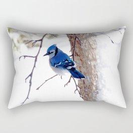 Blue Jay in winter 2 Rectangular Pillow