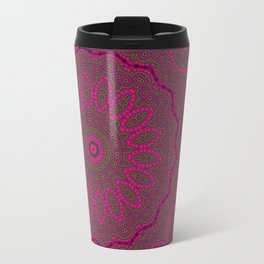 Lovely Healing Mandalas in Brilliant Colors: Plum, Copper, and Pink Metal Travel Mug