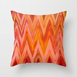 Coral geometric tribal aztec chevron zig zag stripes ikat pattern andes zigzag hipster print Throw Pillow