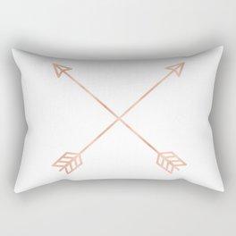 Rose Gold Arrows on White Rectangular Pillow
