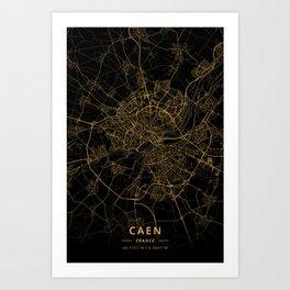Caen, France - Gold Art Print
