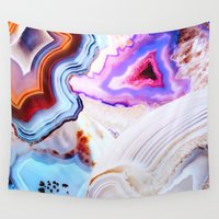 abstract Wall Tapestries featuring Agate, a vivid Metamorphic rock on Fire by Elena Kulikova