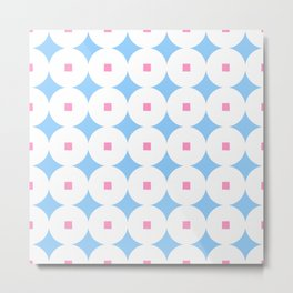 square and circle 7 Blue and pink Metal Print