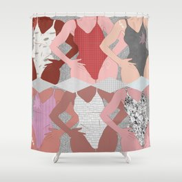 My Thighs Rub Together & I'm OK With That - Positive Female Body Image Digital Illustration Shower Curtain