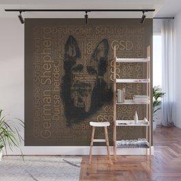 Working German Shepherd Dog  - GSD Word Pattern Wall Mural