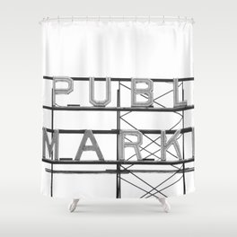 Pike Place Public Farmers Market - Black and White Shower Curtain