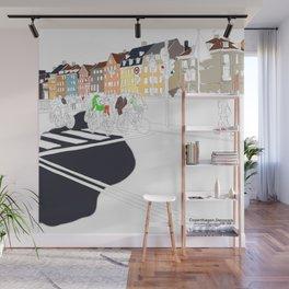 Copenhagen,Nyhavn illustration by blackblomillustrations Wall Mural