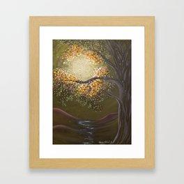 Moonlight Dance, tree and light art, moonlight, river valley Framed Art Print
