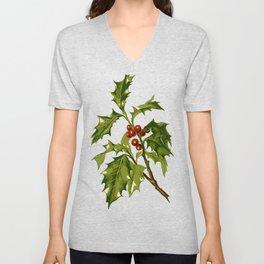 Holly Christmas Red Berry Unisex V-Neck