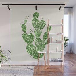 Linocut Cactus #1 Wall Mural