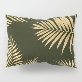 Golden and Green Palm Leaves Pillow Sham