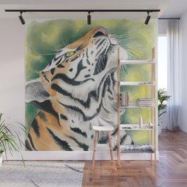 Bengal Tiger Jungle Ink Watercolor Wall Mural