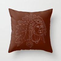 native american Throw Pillows featuring native american by johanna strahl