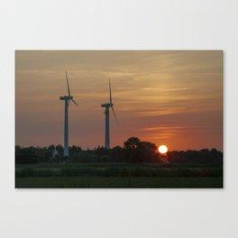 Windräder im Sonnenuntergang Horumersiel Canvas Print