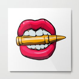 bullet in mouth. Metal Print