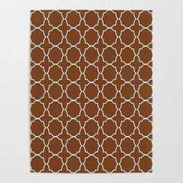 Chocolate Brown Quatrefoil Pattern Poster