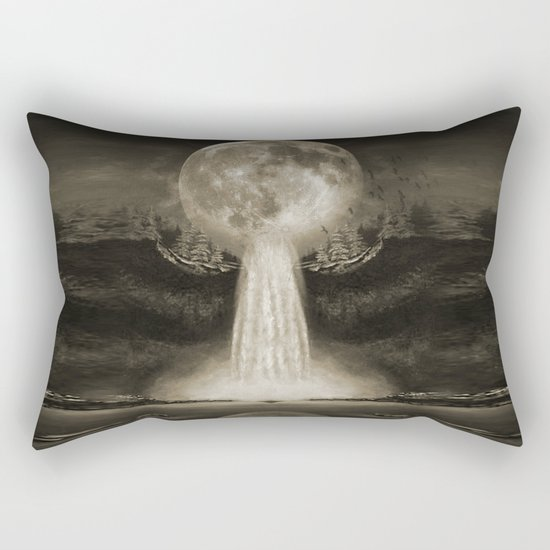 Waterfall Moon Sepia Rectangular Pillow