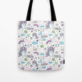 Magical Rainbow, Unicorn And Crystal Pattern Tote Bag