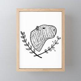 Cute Capybara folk style Framed Mini Art Print
